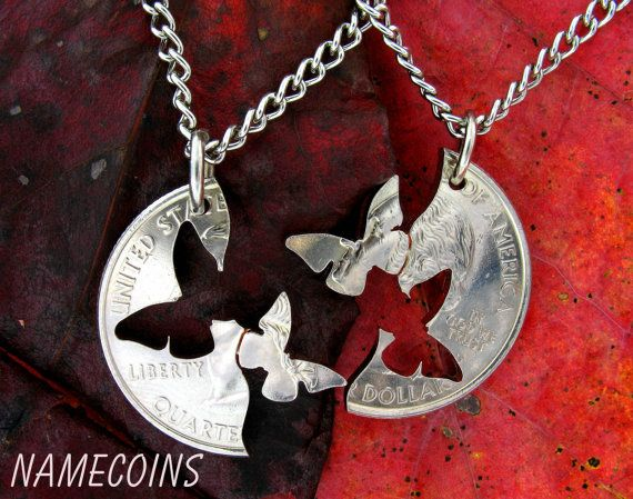 Interlocking Quarter Matching Butterflies Necklaces by NameCoins, $28.99