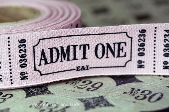 Vintage Style Admit One  Fun Fair Ribbon 1m  Craft by LuckandLuck, £2.50