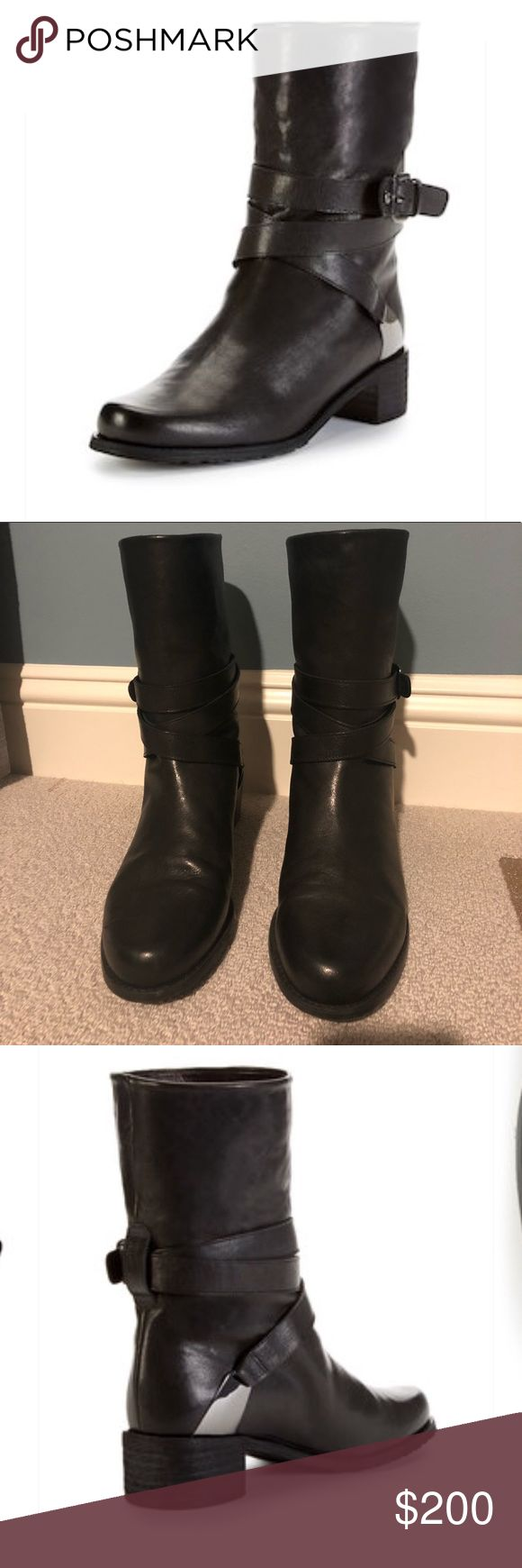 Stuart Weitzman Ranch Dress Moto Boot 1.75 inch heel height. There are some signs of wear as shown in pictures. Some small marks on leather and scratches on the metal hardware. When I bought, there was only 9.5 left and I though oh wear thick socks! Never fit right since I am a size 9. Moral of the story is they are true to size and if anyone wants to trade for a 9 I am interested! Does not include box or dust bag. Stuart Weitzman Shoes Combat & Moto Boots