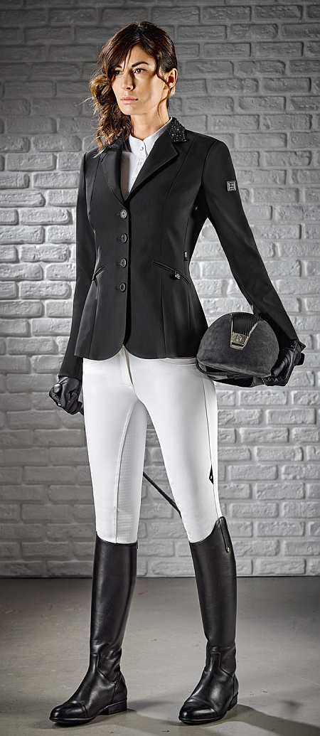 Equiline Ladies Show Jacket Gioia is the latest Equiline competition jacket for ladies. Available in Black, Blue and Grey. Call/text us at 561-228-8883.