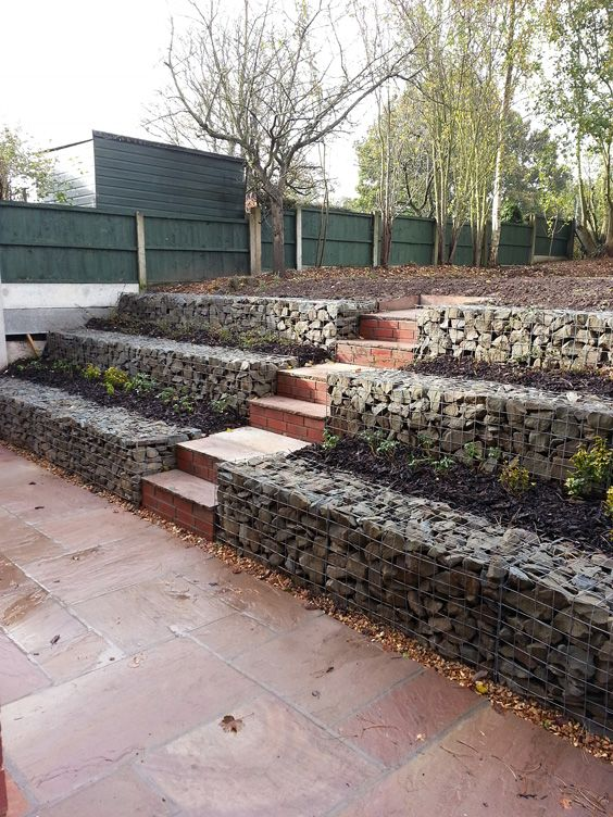 low cost gabion stepped retaining walls cheaper than block stone gabion walls are easy to build - Gabion Walls Design