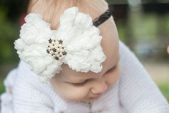 White baby headband White chiffon rosette Bow by LaCharDesigns, $12.20
