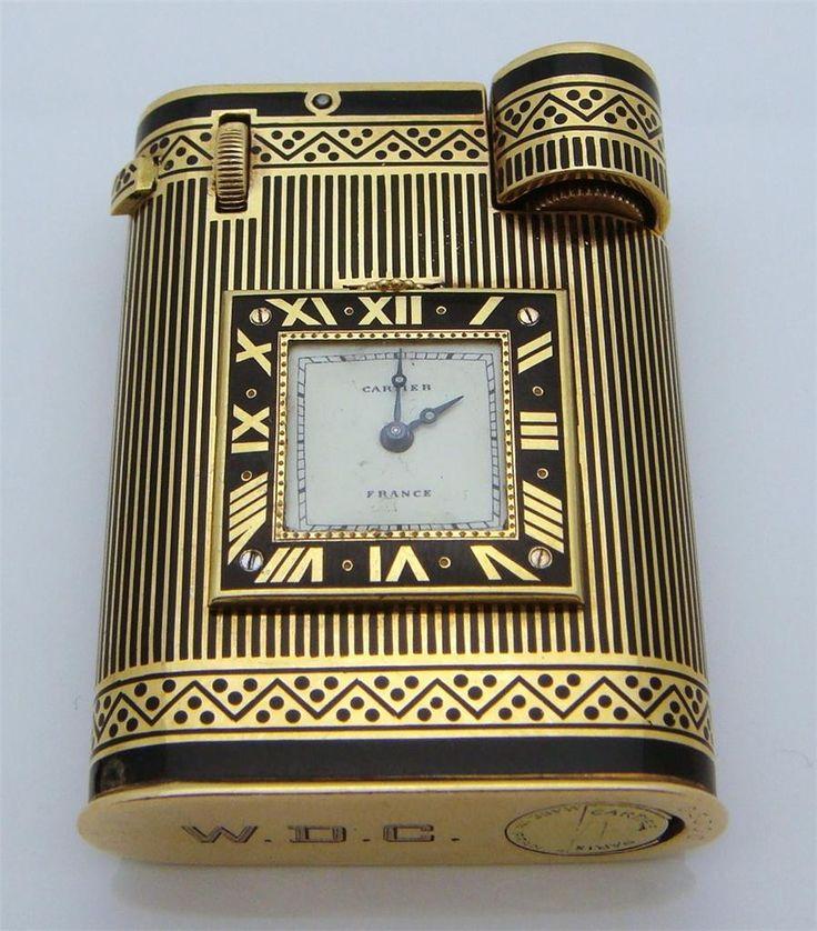 Cartier - Art Déco - Briquet Pendulette - Or et émail - années 30