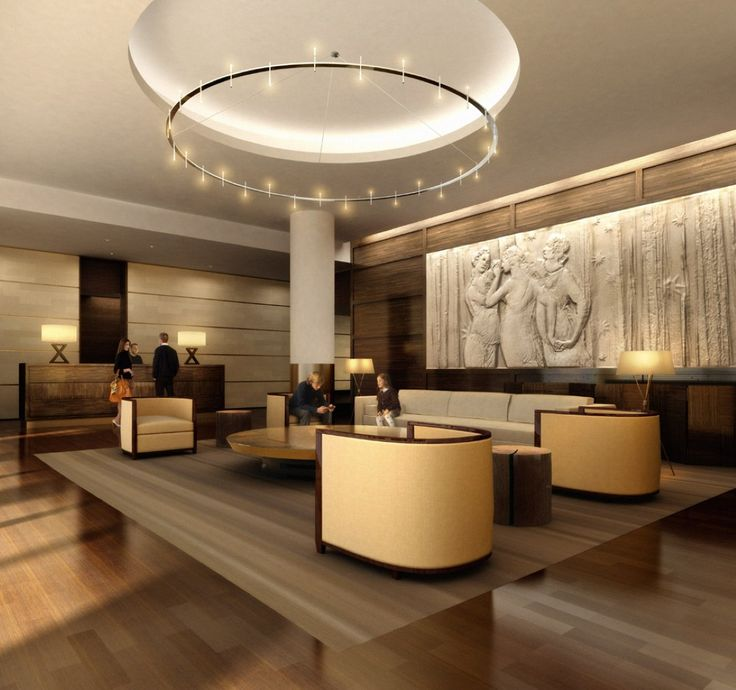 Outstanding Office Lobby Design With Native Art Carved On The Wall Ideas