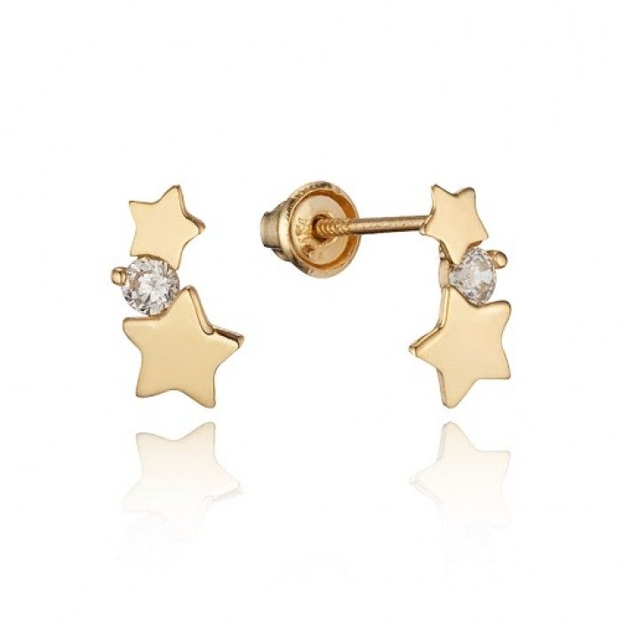 Baby and Children's Earrings:  14k Gold Sparkle Stars Earrings with Screw Backs.  Kids' earrings from Baby Jewels.