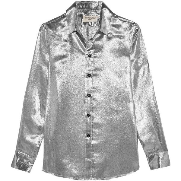 Saint Laurent Silk-blend lamé shirt found on Polyvore featuring tops, shirts, saint laurent, 80s tops, tailored shirts, yves saint laurent shirt, polish shirts and wet look top