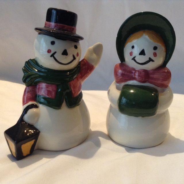 Mr& Mrs Snowman Salt & Pepper Shakers Christmas Xmas Dinner Table Decoration