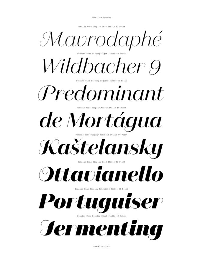 Domaine Sans Display | Klim Type Foundry