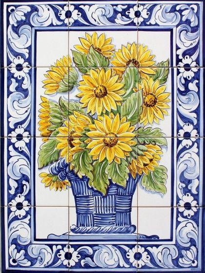 Cesta Girassois - 12 azulejos