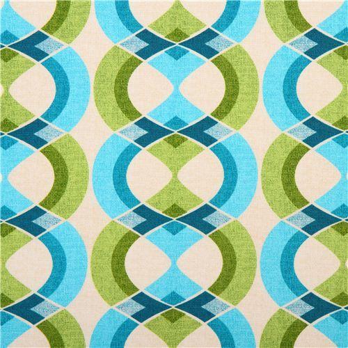 retro line ornament fabric blue-green Mod Tex Robert Kaufman 1