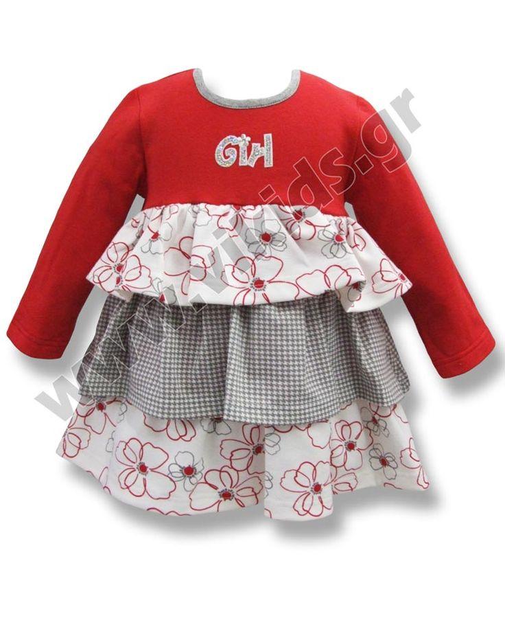 Φόρεμα Scarabeo με τριπλό βολάν. Για ηλικίες 3-18 μηνών. Είναι διαθέσιμο και στη συλλογή 2-5 ετών.