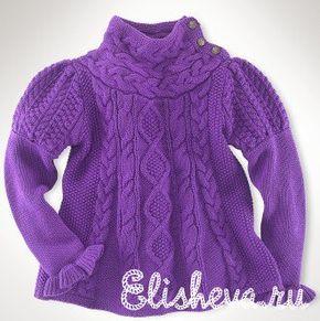 Платье-туника от Ральфа Лорена для девочки вязаное спицами