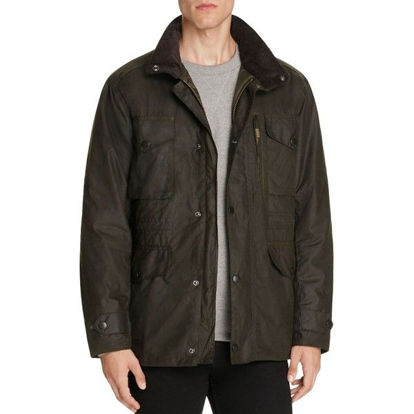 Barbour Sapper Waxed Cotton Jacket ($429) ❤ liked on Polyvore featuring men's fashion, men's clothing, men's outerwear, men's jackets, olive, mens olive green jacket, mens green military jacket, barbour mens jackets, mens waxed cotton jacket and mens army green jacket