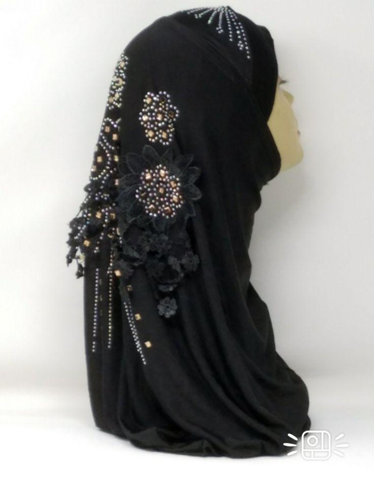 Amour Al Amira Hijab $24.99 Amour Al Amira Hijab with beautiful Lace Applique And Rhinestone Black 1pchttps://store13211292.ecwid.com/#!/Amour-Al-Amira-Hijab/p/101697865