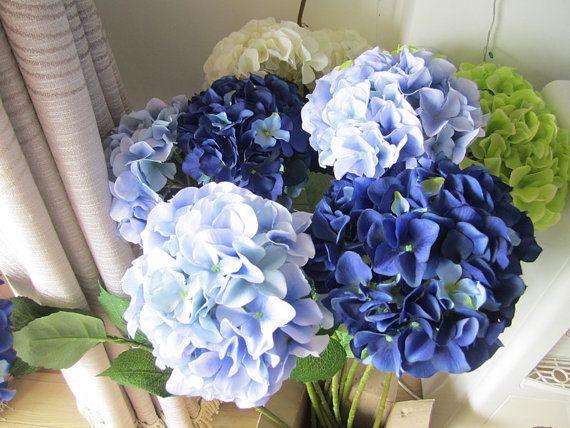 10 pz seta ortensia con gambo dei fiori, 8 colori, centrotavola matrimonio, Home Decor, Bouquet di ortensie artificiali