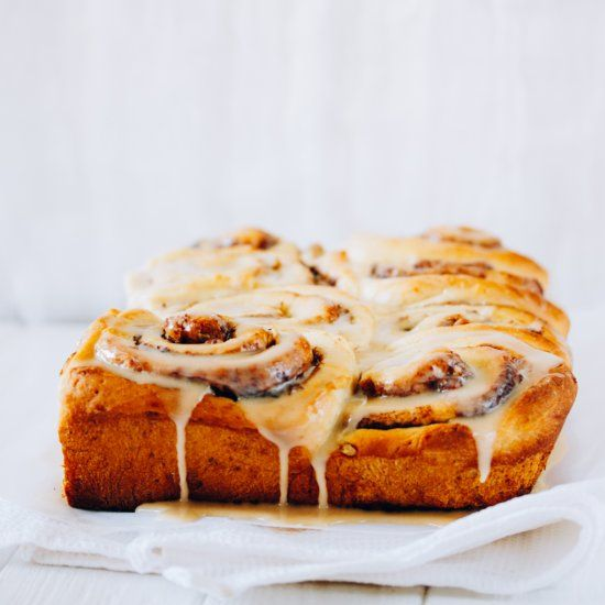 Very easy cinnamon rolls with coffee glaze- almost no-knead dough which became my basic dough!