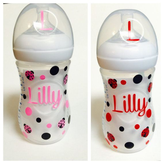 Ladybugs vinyl customized baby bottle decal preschool name decal snack cup decal sippy cup decal school name label daycare name label