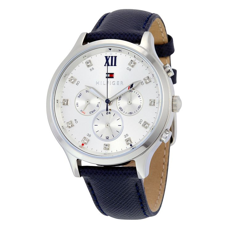Tommy Hilfiger Amelia Multifunction Silver Dial Blue Leather Ladies Watch 1781613
