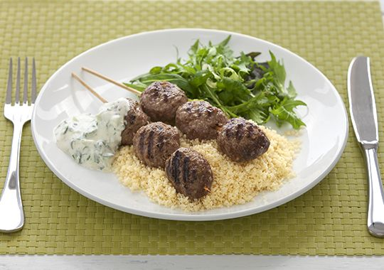 Beef Koftas with couscous.  These taste fantastic!   Though I prefer using rice over couscous myself..