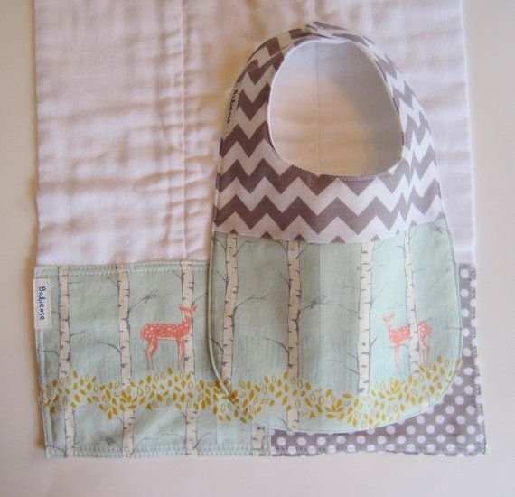 Baby Bib BurpCloth Set - Woodland Deer in Aqua Grey / Modern Baby Bibs / Chevron Baby Bib