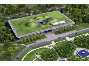 Accademia delle scienze - California     Il tetto è coperto da verdi colline dove gli studenti possono comodamente leggere e rilassarsi dopo le lezioni. Autore di quest'opera straordinaria, è Renzo Piano, architetto italiano di fama mondiale che, qui, ha concepito una struttura da 50 mila metri quadri.