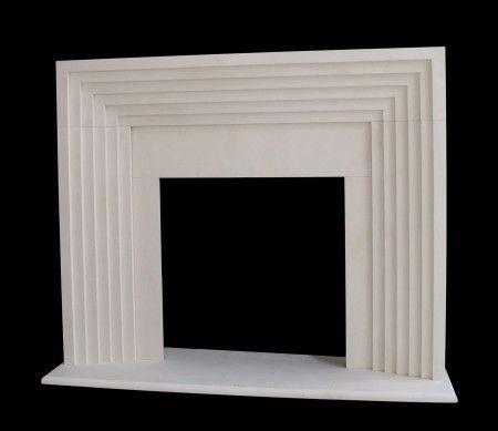 Art Deco style fireplace mantel limestone modern contemporary design shopstonefireplaces.com