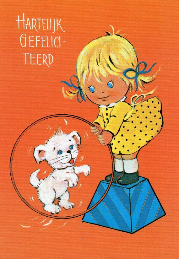 Vintage Postcard 70's Big blue eye girl and a puppy