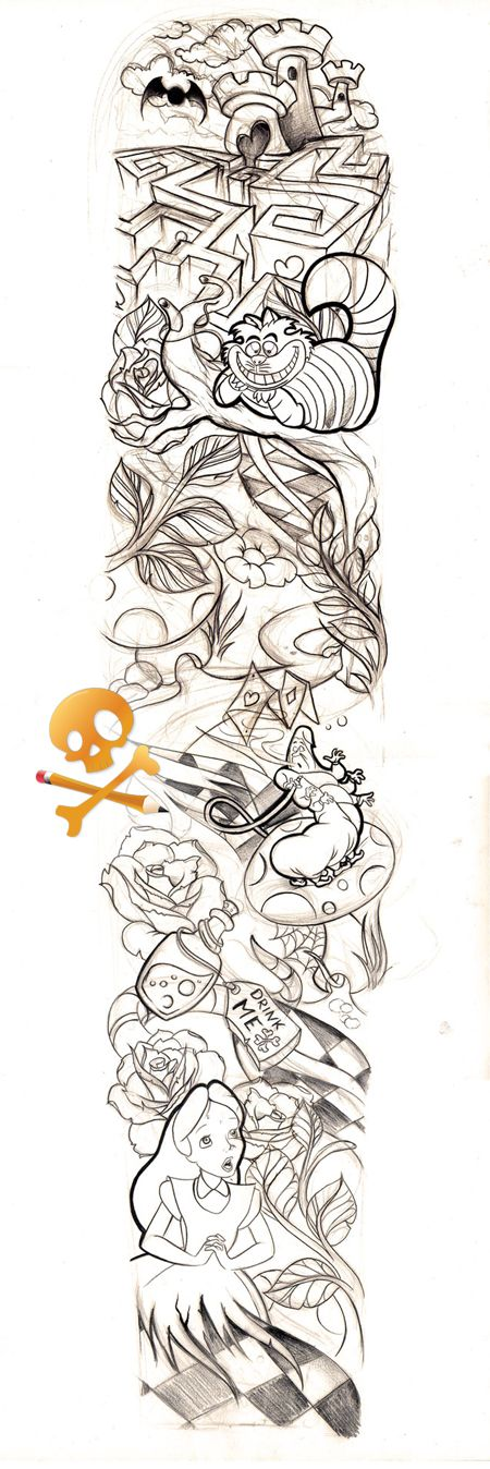 THIS DESIGN BELONGS TO: !!!!! HE COMMISSIONED THIS TATTOO here's the line work: If you like this one, here's a girlie sleeve for ya. ^^