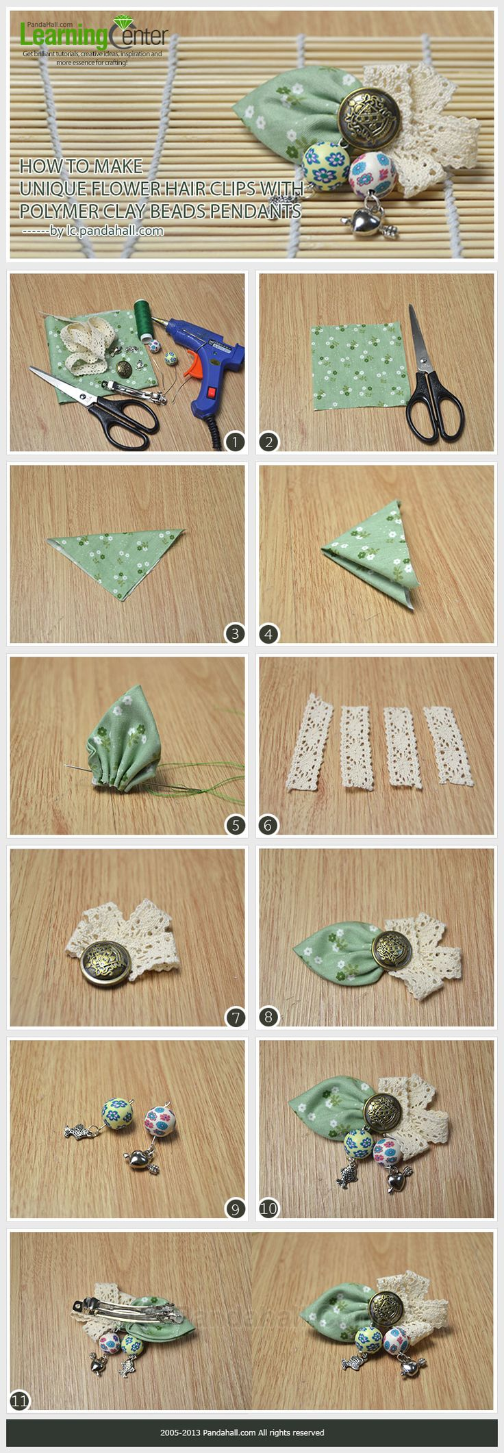 How to Make Unique Flower Hair Clips with Polymer Clay Beads Pendants