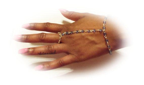 Lt. Sapphire Blue Finger Bracelet with by DesignsByCherrae on Etsy, $25.00