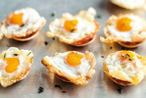 Tartaletas con huevos de codorniz y sobrasada