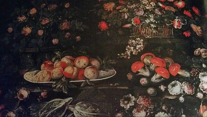 CERCHIA DI ELISABETTA SIRANI  ( Bologna 1638 - 1665). NATURA MORTA CON VASI DI FIORI, FUNGHI E FRUTTA. olio su tela. senza cornice. 129 × 192 cm. SOTHEBY'S, Milano. Dipinti Antichi. 01 / 06 / 2004. Estimate : 15.000 - 20.000  €.
