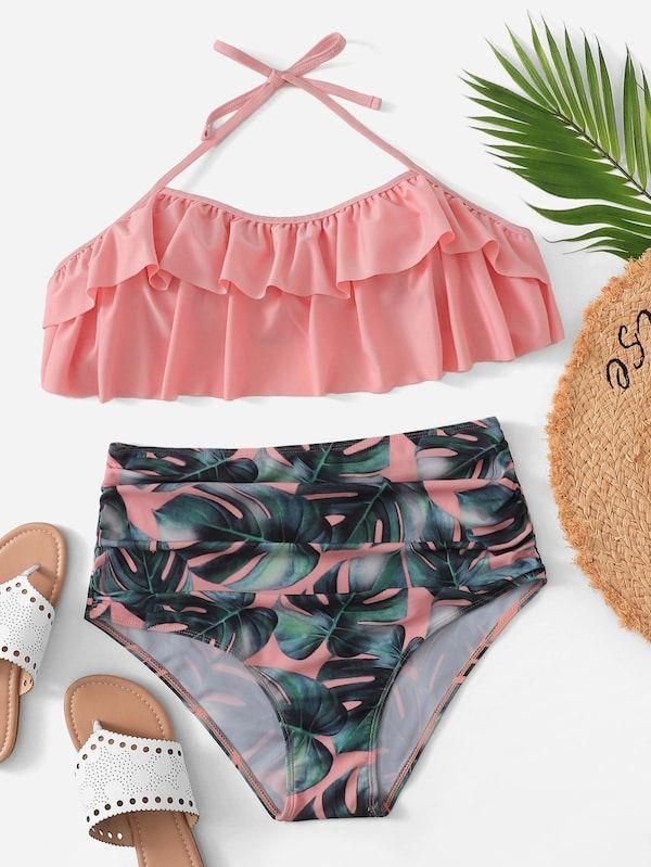 8a7f2ebba9e Plus Ruffle Top With Random Palm Print Bikini -SHEIN(SHEINSIDE ...