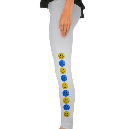 Blue & Yellow Happy Sad Smiley Bi Polar Leggings #bipolar