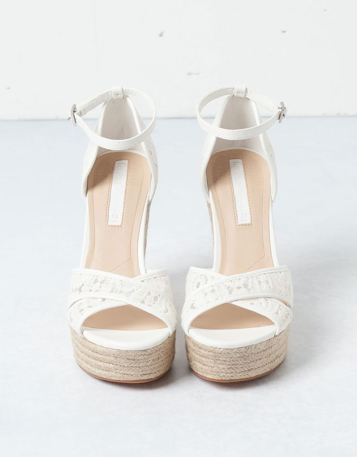 Zeppe di corda total white #sandali #fashion #trend2015 #zeppe #summer2015…
