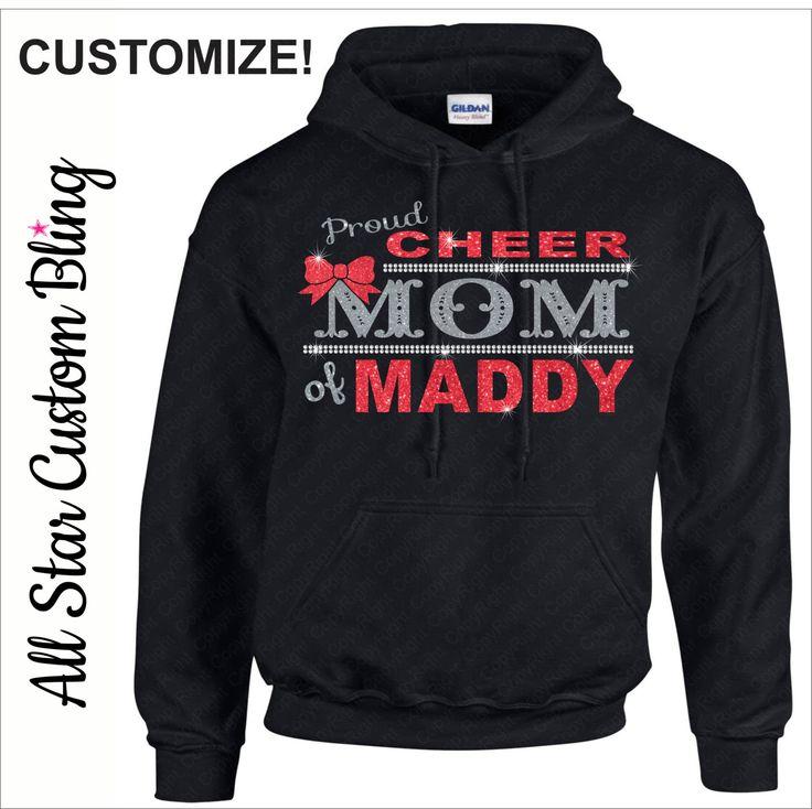 Proud Cheer Mom Bling Hoodie, Custom Cheer Mom Hoodie, Cheer Mom Bling Hoodie, Proud Cheer Mom Hoodie, Cheer Mom Hoodie, Bling Hoodie by AllStarCustomBling on Etsy