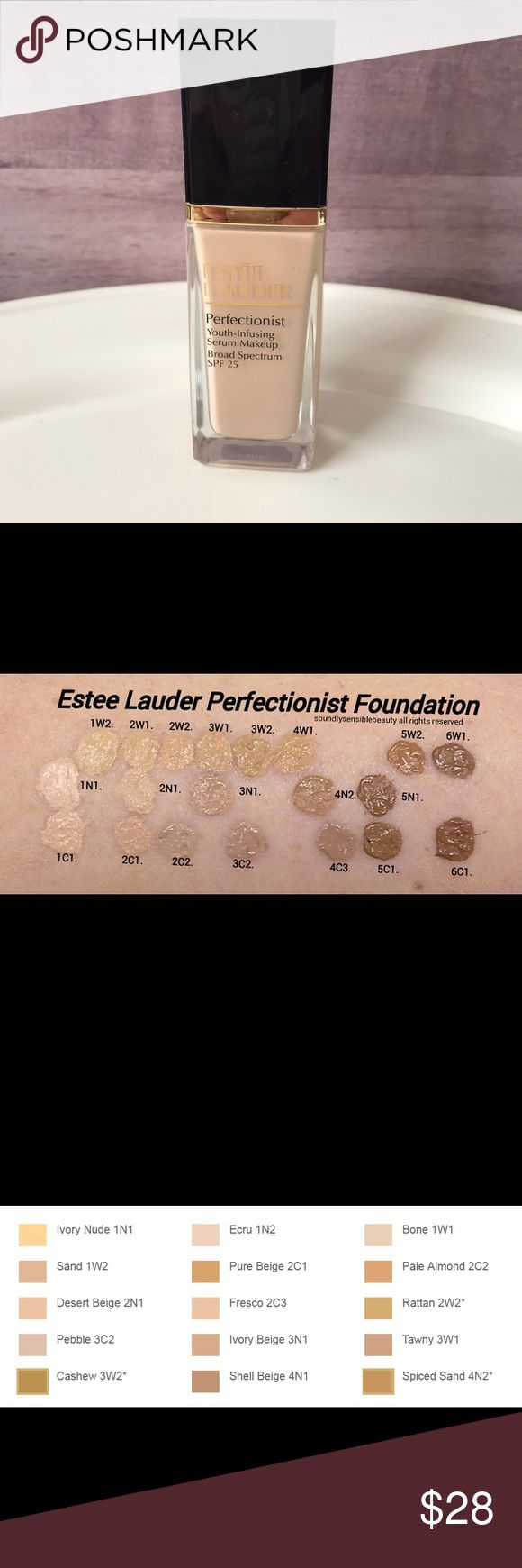 Estee Lauder Perfectionist Foundation Shade is 1N1 Ivory Nude. Color chart & swatch pics are included in pics to help determine if shade matches your complexion. Has only been used once, it didn't match as well as I thought it would. Retails for $47. Bundle with other items for a private offer or feel free to submit your own via the offer button. No trades. From a smoke free & pet free home. Estee Lauder Makeup Foundation