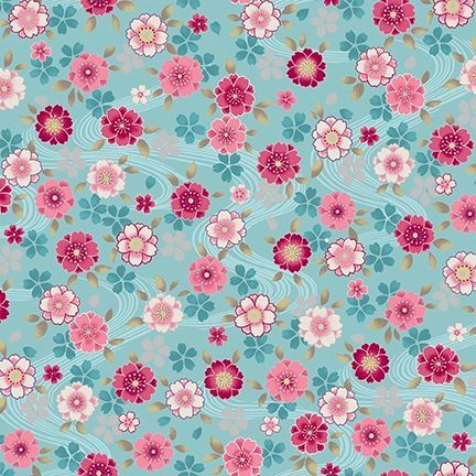 4526-642 Shiki Small Floral Multi on Aqua