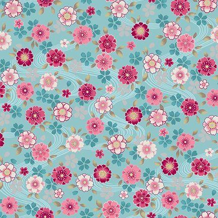 4526-642 Shiki Small Floral Multi on Aqua