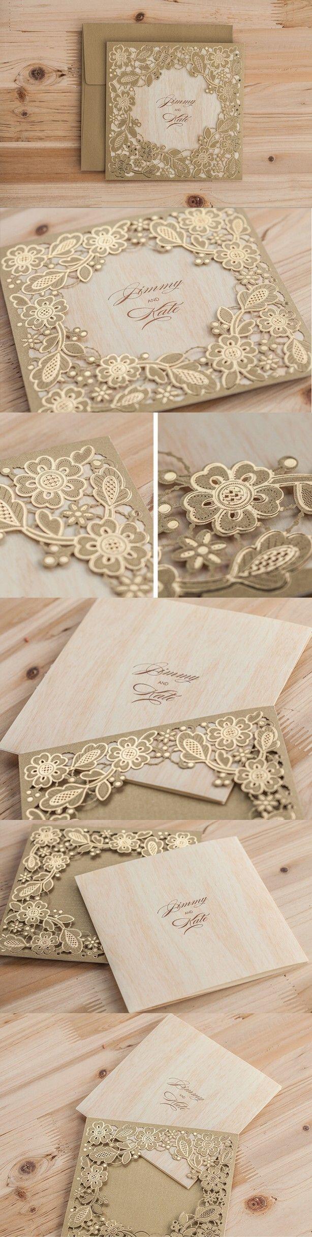 2016 Golden Flower Wedding Invitations, Lace Invitation Cards, Laser Cut Wedding Invitations Meter Gold Free Printing