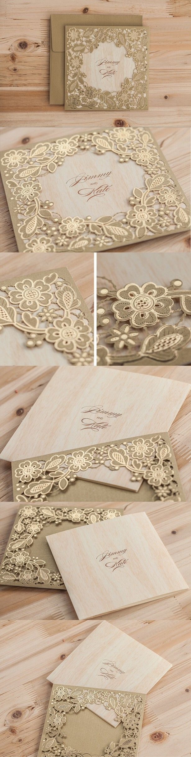 2016 Golden Flower Wedding Invitations, Lace Invitation Cards, Laser Cut Wedding Invitations Meter Gold Free Printing