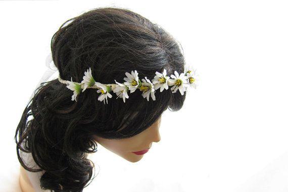 Floral Hair Crown Wild Daisy Hippie Head Wreath Bridal Wedding Hair Accessories