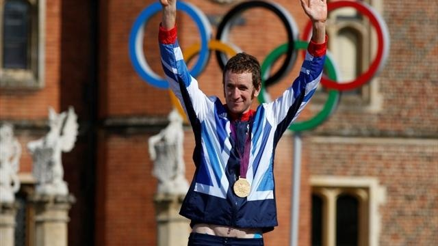 Bradley Wiggins gets gold in the Time Trials - I was there!!- On the finish line and everything.