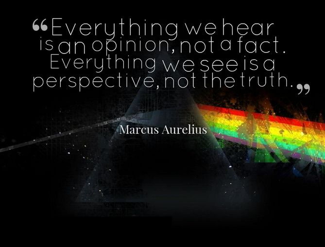 Everything we hear is an opinion, not a fact. Everything is perspective, not the truth
