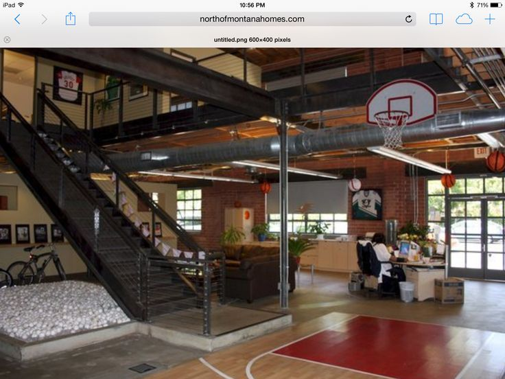 Inside Basketball Court Cool Office Space Cool Office Home Basketball Court