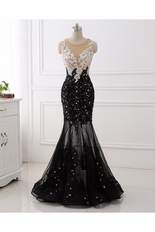 Lace White Mermaid Black Black Mermaid Qprom053029 Prom Dresses