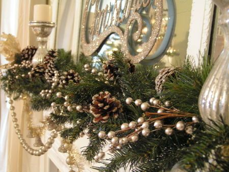 silver glittered mantel garland