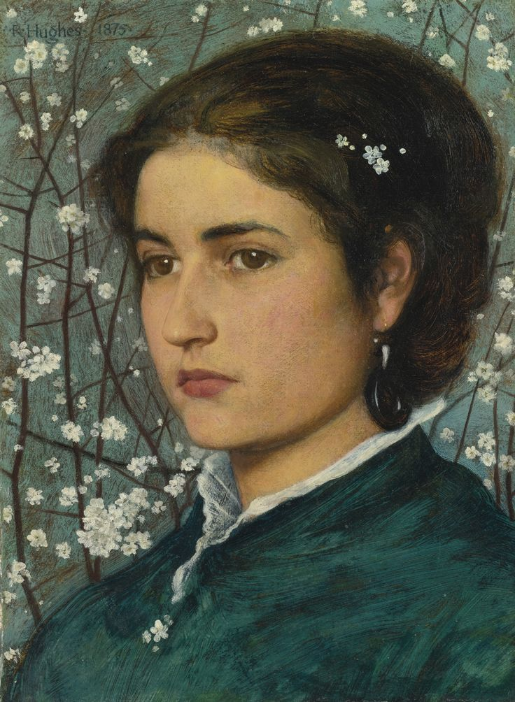 EDWARD ROBERT HUGHES (BRITISH, 1851 - 1914)  A YOUNG BEAUTY  signed R. Hughes. and dated 1875 (upper left)  oil on canvas, 25.4 x 19 cm