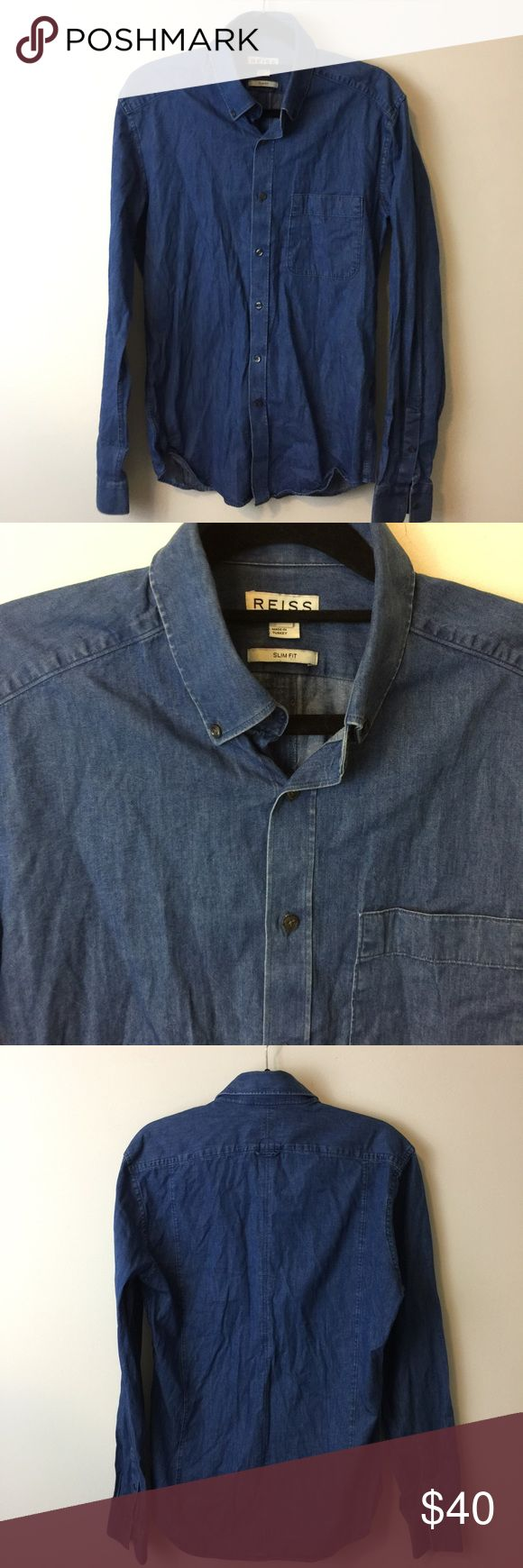 REISS Blue Denim Button Down Shirt REISS blue denim cotton Button Down Shirt- has a soft body and a slim cut. In good condition and is a size small Reiss Tops Button Down Shirts