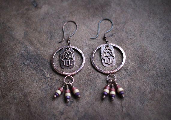 Hippie Boho Earrings Hamsa Tribal Copper Dangles by Triballa